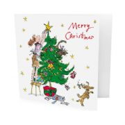 Pack of 10 Quentin Blake Childline Charity Christmas Cards - Decorating Christmas Tree
